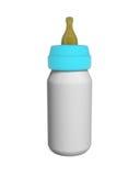 婴孩在白色隔绝的牛奶瓶 库存照片