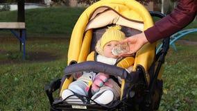 婴孩坐在婴儿车的,母亲给瓶用水 影视素材