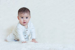 婴孩坐白色背景 免版税库存图片