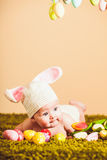 婴孩复活节兔子 库存图片