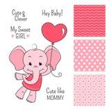 婴孩大象与无缝的样式的桃红色设计 库存图片