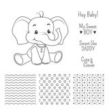 婴孩大象与无缝的样式的概述设计 免版税库存图片