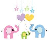 婴孩大象家庭贺卡 免版税库存图片