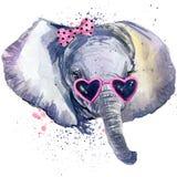 婴孩大象T恤杉图表 婴孩与飞溅水彩的大象例证构造了背景 异常的例证wate 免版税库存照片