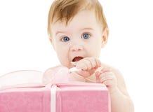 婴孩大配件箱男孩礼品 库存图片