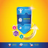 孩子Ω钙和维生素概念商标金孩子 免版税库存图片