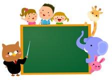 孩子、动物和黑板 库存图片