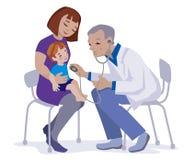 孩子、母亲和医生平的设计的 向量例证