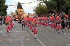 孩子。狂欢节在塞浦路斯。 免版税库存图片