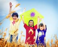 孩子不同的使用的风筝领域年轻人概念 免版税图库摄影