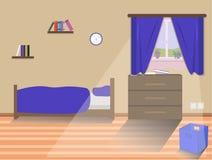 孩子与床的卧室内部 向量例证