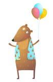 孩子与气球五颜六色的动画片的玩具熊 向量例证