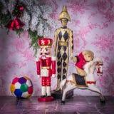 孩子世界  在圣诞节气氛的木玩具 免版税库存图片