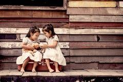 孩子两个逗人喜爱的亚裔小女孩坐手提箱 免版税图库摄影