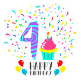 4年孩子乐趣党艺术的生日快乐卡片 库存照片