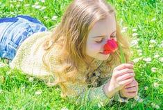 孩子享受郁金香芬芳,当说谎在草甸时 r 愉快的面孔的女孩拿着红色郁金香花  免版税库存图片