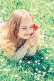 孩子享受郁金香芳香,当说谎在草甸,关闭时 愉快的面孔的女孩拿着在晴朗的春天的红色郁金香花 免版税库存图片