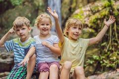 孩子休息在一次远足期间在森林 库存图片