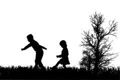 孩子传染媒介剪影  免版税库存图片