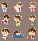 孩子体育运动贴纸 库存图片