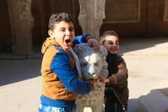 孩子使用与狮子雕象在非洲公园 免版税库存照片