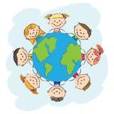 孩子保存地球传染媒介 免版税库存图片
