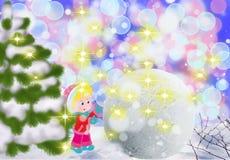 孩子修造雪妇女在雪,孩子的冬天乐趣外面 库存图片