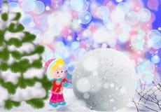 孩子修造雪妇女在雪,孩子的冬天乐趣外面 免版税库存照片