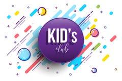 孩子俱乐部水平的横幅模板 传染媒介colorfull例证 免版税库存图片
