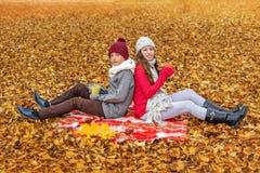 孩子兄弟和姐妹互相与他们的后面坐格子花呢披肩在秋天公园并且拿着杯子用热的茶 免版税库存图片