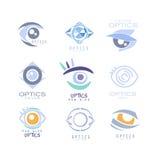 孩子光学诊所和眼科学内阁套标签模板用不同的创造性的样式和浅兰的树荫 库存例证