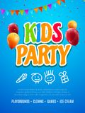 孩子党邀请设计模板 庆祝乐趣飞行物海报孩子的孩子横幅装饰 库存例证