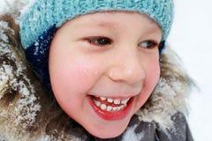 孩子冬天画象  库存照片