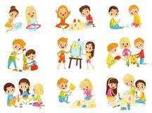 孩子创造性集合、儿童的创造性、教育和发展概念导航在白色背景的例证 免版税库存图片
