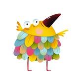 孩子动画片的滑稽的五颜六色的鸟 向量例证