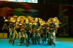 孩子参与在国际MegaDance竞争 库存图片