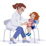 孩子和医生平的设计的 向量例证