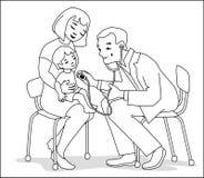 孩子和医生黑白的 库存例证