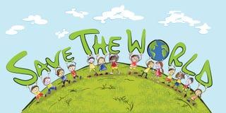 孩子和地球 免版税库存照片