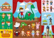 孩子和学校戏曲场面 皇族释放例证