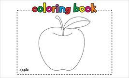 孩子和孩子的简单的苹果彩图 图库摄影