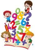 孩子和数字在书 库存例证
