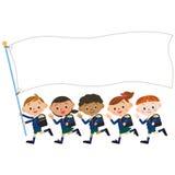 孩子和旗子, Shinnyu研究 免版税库存照片