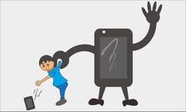 孩子和智能手机 免版税库存图片