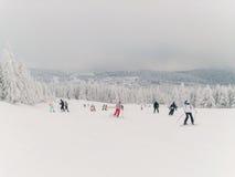孩子和有些成人在滑雪 库存图片