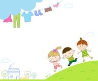 孩子和框架 图库摄影