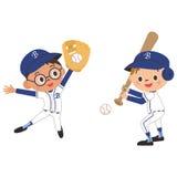 孩子和棒球 库存图片