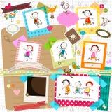 孩子和照片框架 库存图片