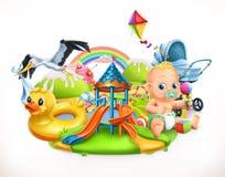 孩子和玩具 儿童操场传染媒介例证 免版税库存图片