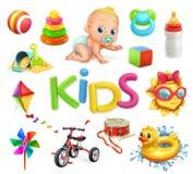 孩子和玩具 儿童操场,被设置的传染媒介象 库存照片